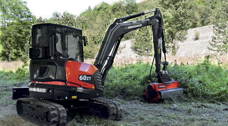 Sul mini escavatore 60ZT a marchio Eurocomach è montato il sistema EOC (Electronic Open Circuit) di Bosch Rexroth.