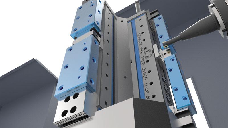 Per il serraggio pezzi in un'officina in cui è installata un'isola robotizzata, Gerardi propone una particolare versione del cubo morsa serie FMS provvista di ganasce personalizzate a gradino scaricate lateralmente.