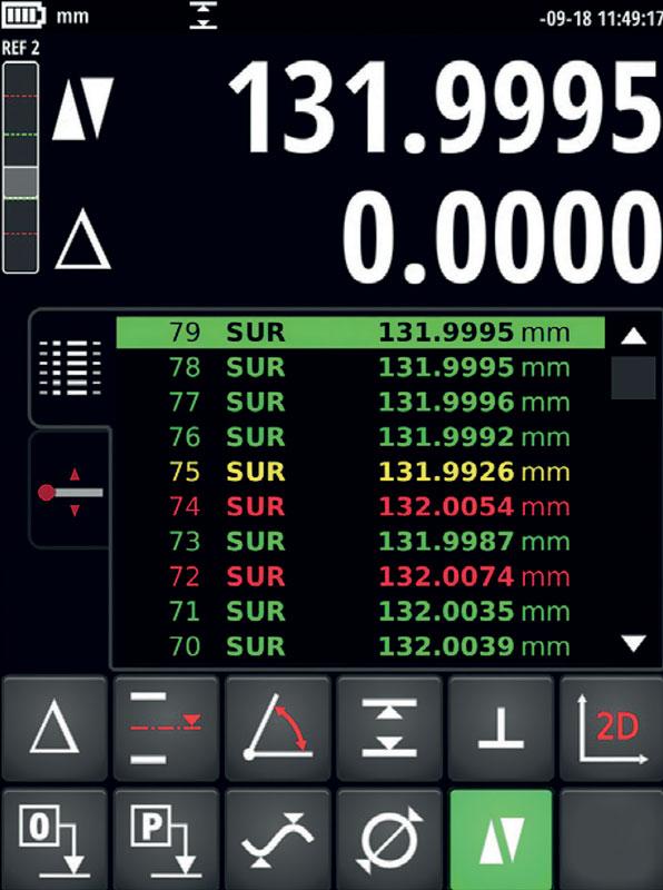 L'ampio display mostra tutte le funzioni di calcolo sulla misura eseguita tramite interfaccia progettata per garantire elevata facilità d'uso in ambiente di officina.