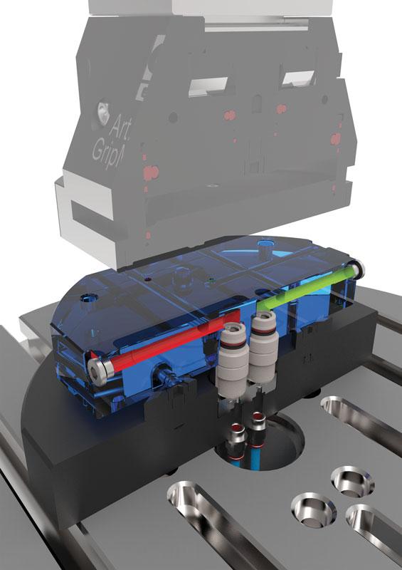 Le morse serie FMS sono utilizzate con successo anche per il serraggio automatico di particolari tondi di grandi dimensioni il cui controllo avviene tramite centralina idraulica da CNC.