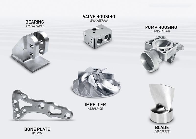 Il centro DMP 35 assicura una produzione efficiente, affidabile e precisa di pezzi complessi realizzati con un'ampia gamma di materiali, dall'alluminio al titanio.
