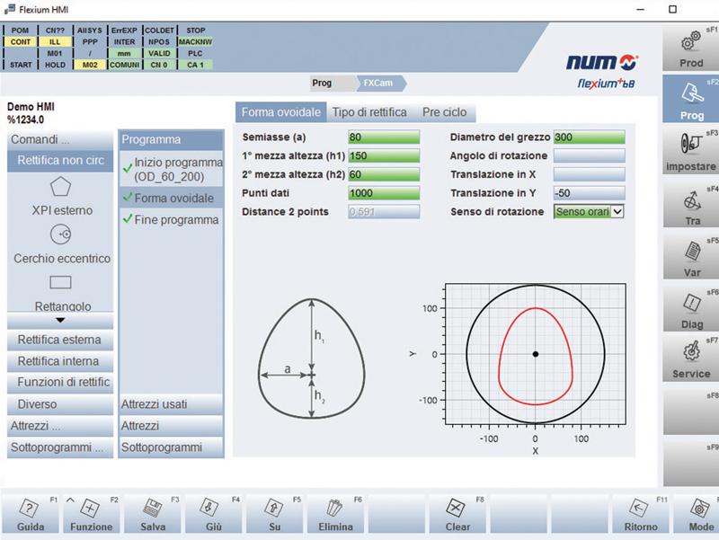 Rettifica non circolare visualizzata dall'HMI di Flexium+ CNC di NUM.